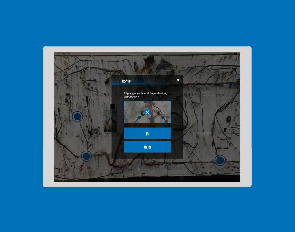 Screenshot iPad-App eines Boardnetzproduzenten zeigt die Abfrage der Zugentlastung