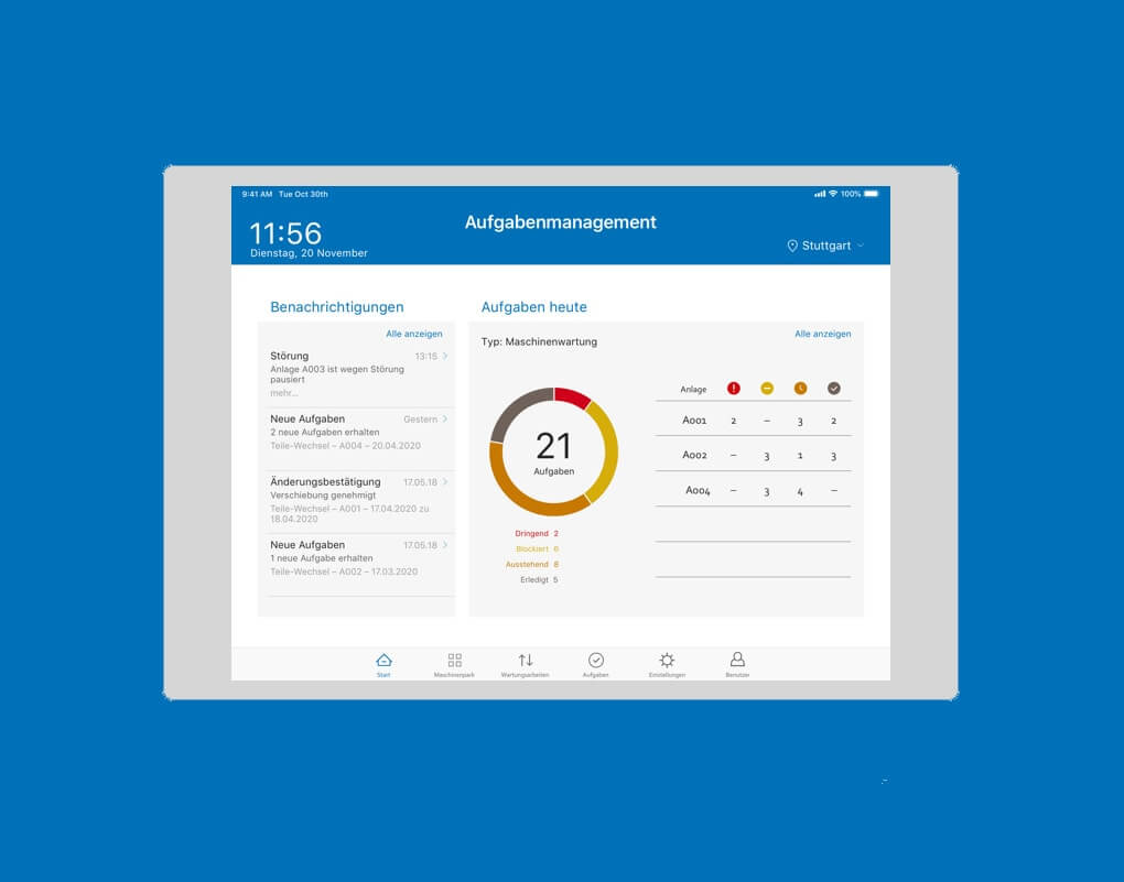 Screenshot iPad-App eines Maschinennadelproduzenten zeigt digitale Maschinenwartung