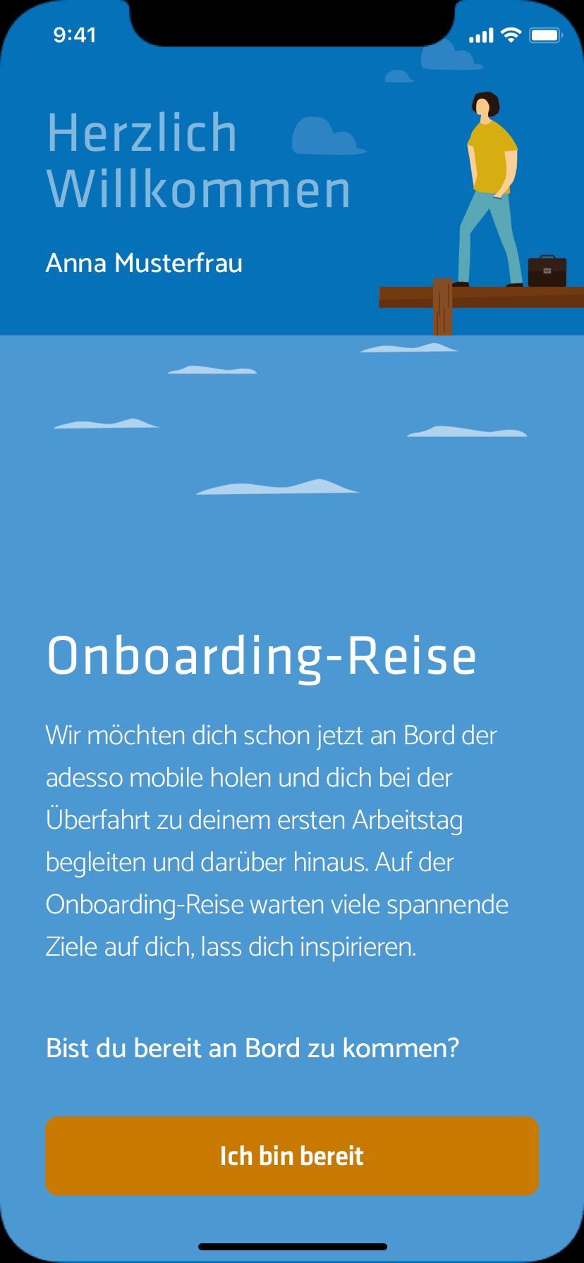 Onboarding-App, Willkommen