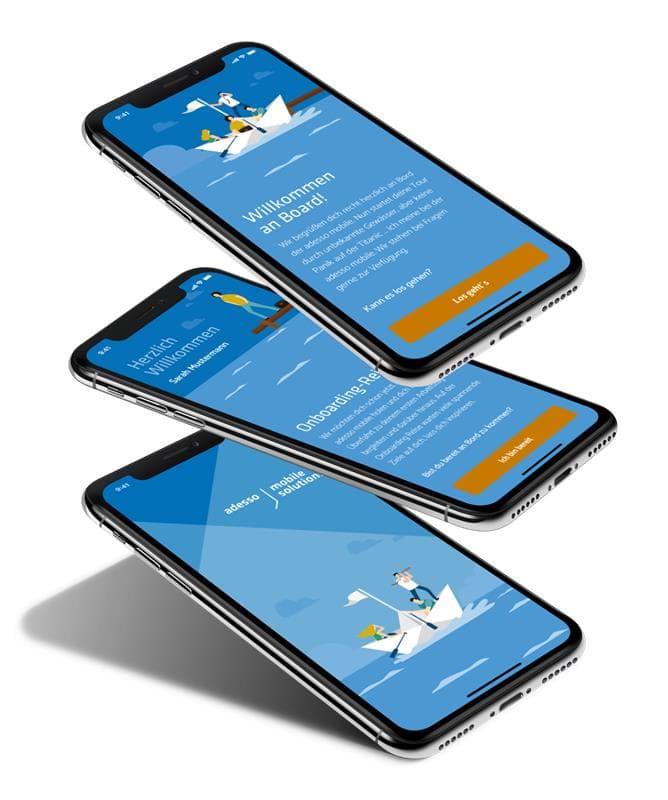 Drei Screenshots der Onboarding-App zeigen Begrüßungstext