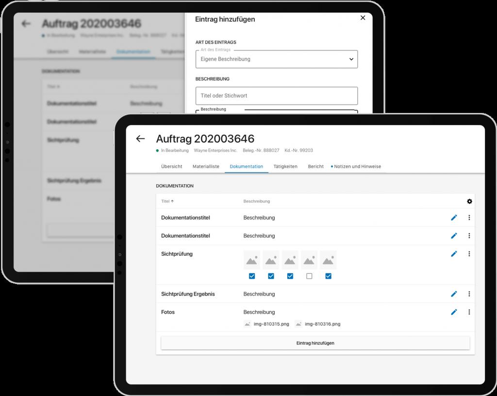 Field Service App: Zwei Screenshots der Auftragsdokumentation