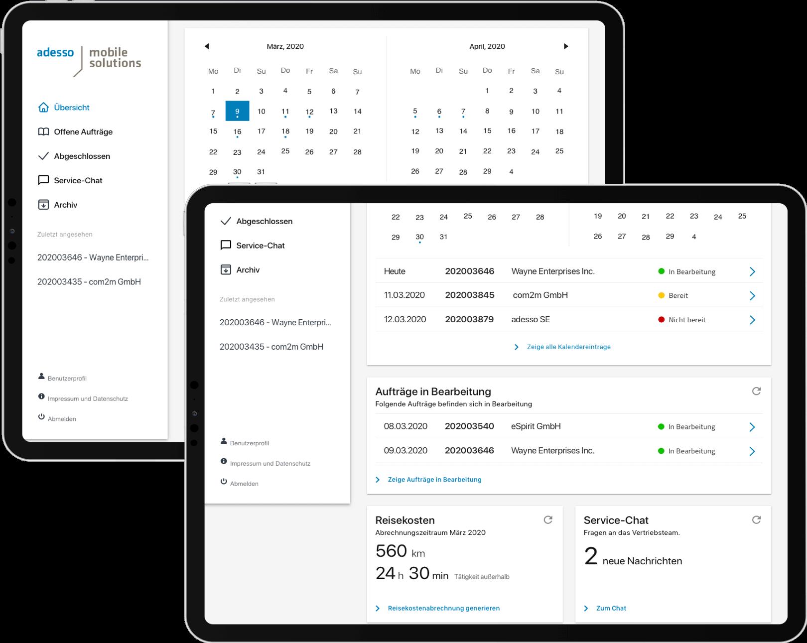 Zwei Screenshots der Field Service App, Dashboard
