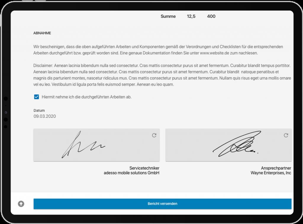 Screenshot der Field Service App, digitale Unterschrift