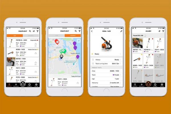 4 Smartphone Screenshots der STIHL connected App, Equipmentlisten und Standorte