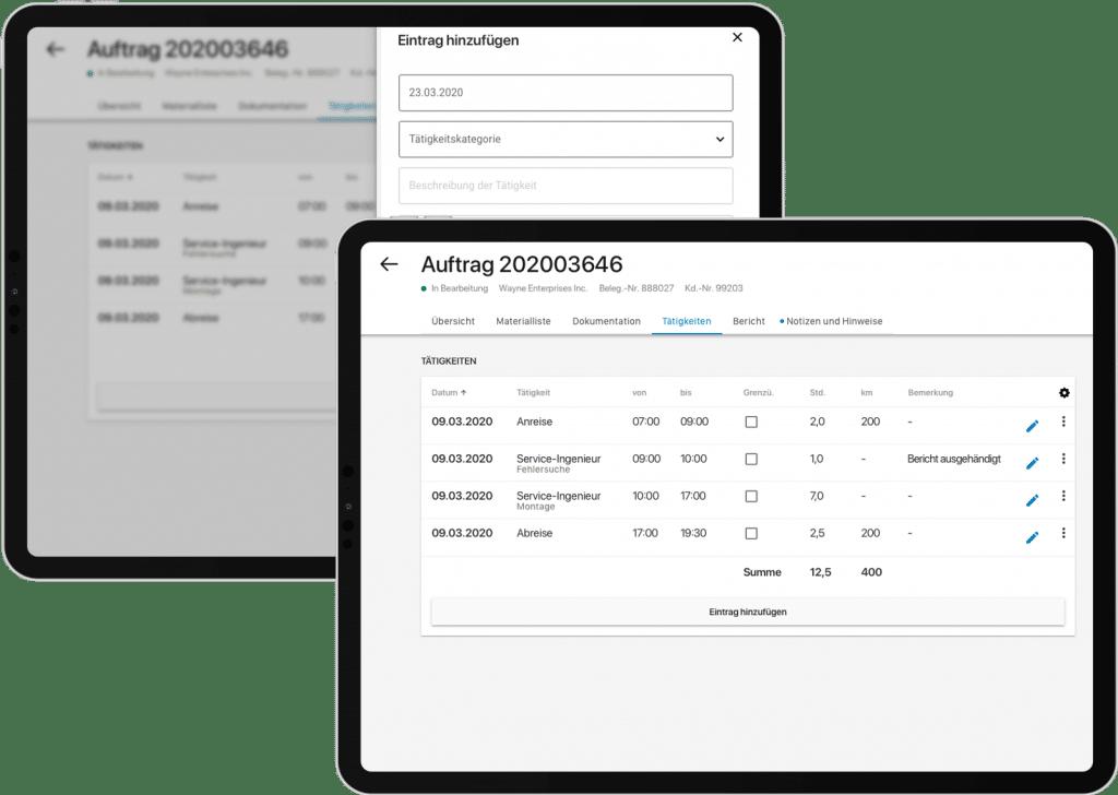 Screenshot der Field Service App, Tracking der Tätigkeiten