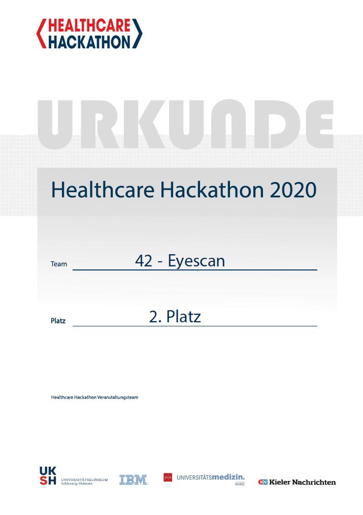 Urkunde Healthcare hackathon